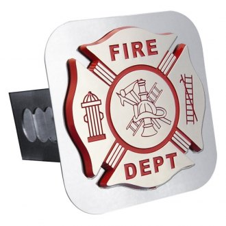 Autogold® - Chrome Hitch Cover with Fire Department Logo