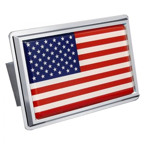 Autogold® - Chrome Hitch Cover with US Flag Class II Logo