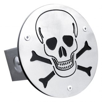 "Autogold® - Laser Cut Brushed Hitch Cover with Skull Logo for 1-1/4"" Receivers"