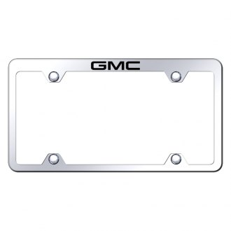 Autogold® - Wide Body Chrome License Plate Frame with Laser Etched GMC Truck Logo