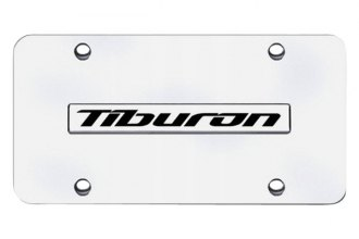 Autogold® - Tiburon Name Logo on Chrome License Plate