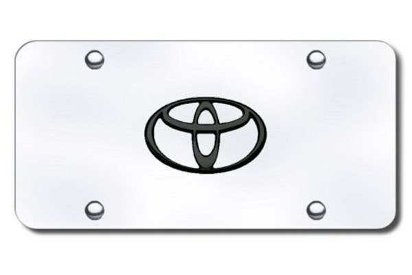 AutoGold� - 3D Black Toyota Logo on Chrome License Plate
