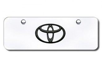 Autogold® - 3D Black Toyota Logo on Chrome Mini Size License Plate