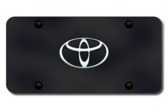 Autogold® - Toyota Chrome Logo on Black License Plate
