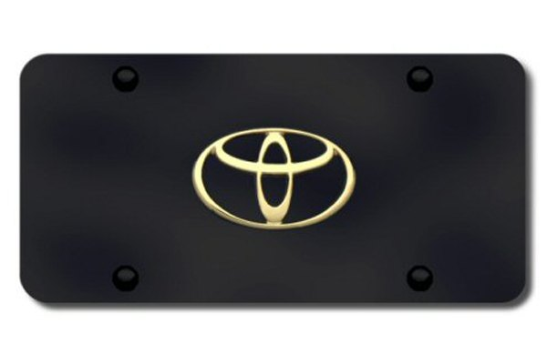 Autogold® - 3D Gold Toyota Logo on Black License Plate
