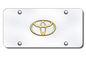 Autogold® - 3D Gold Toyota Logo on Chrome License Plate