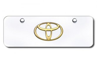 Autogold® - 3D Gold Toyota Logo on Chrome Mini Size License Plate