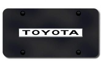 Autogold® - 3D Chrome Toyota Logo on Black License Plate
