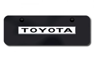 Autogold® - 3D Chrome Toyota Logo on Black Mini Size License Plate