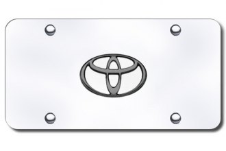 Autogold® - 3D Black Pearl Toyota Logo on Chrome License Plate