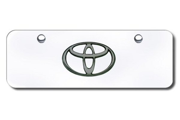 Autogold® - Black Pearl Toyota Logo on Chrome Mini Size License Plate