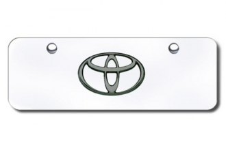 Autogold® - 3D Black Pearl Toyota Logo on Chrome Mini Size License Plate