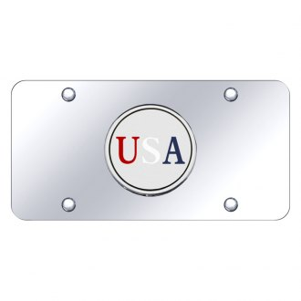 Autogold® - Chrome License Plate with USA Logo