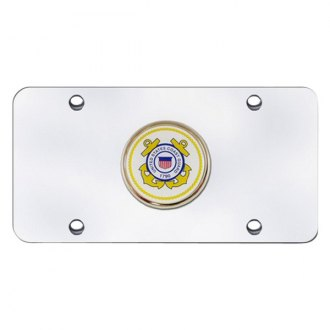 Autogold® - U.S. Coast Guard Logo on Chrome License Plate