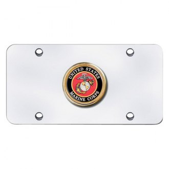 Autogold® - U.S. Marine Corps Badge Logo on Chrome License Plate