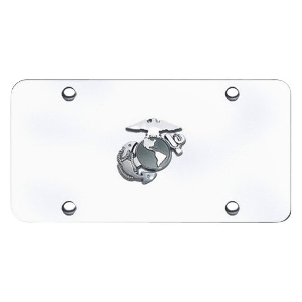 Autogold® - U.S. Marine Corps 2 Logo on Brushed License Plate
