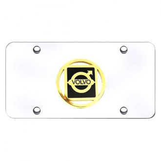 Autogold® - 3D Gold Volvo Logo on Chrome License Plate