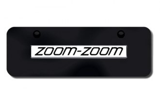 Autogold® - Zoom Zoom Logo on Black Mini Size License Plate