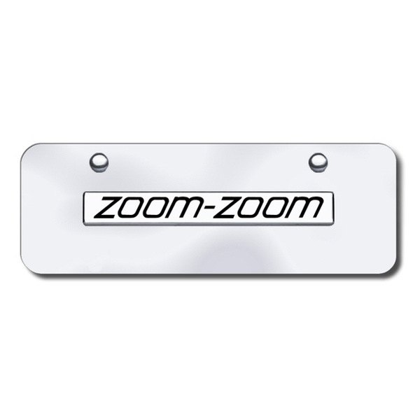 Autogold® - Zoom Zoom Logo on Chrome Mini Size License Plate