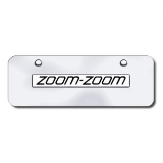 Autogold® - 3D Chrome Zoom Zoom Logo on Chrome Mini Size License Plate