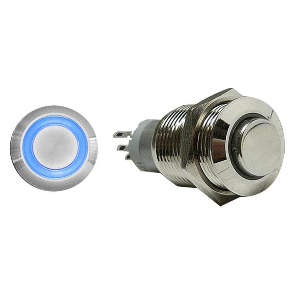 AutoLoc® - 16 mm Momentary Billet Button with Blue LED Ring