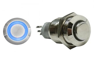 AutoLoc® AUTSW38B - 16 mm Momentary Billet Button with Blue LED Ring