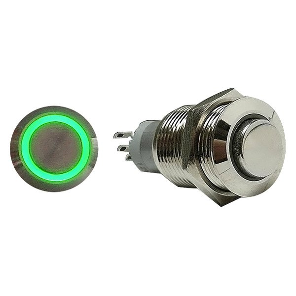 AutoLoc® - 16 mm Momentary Billet Button with Green LED Ring