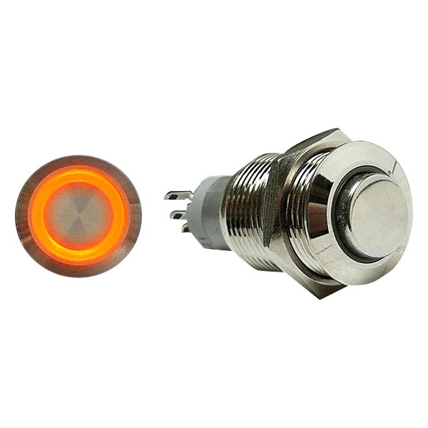 AutoLoc® - 16 mm Momentary Billet Button with Orange LED Ring