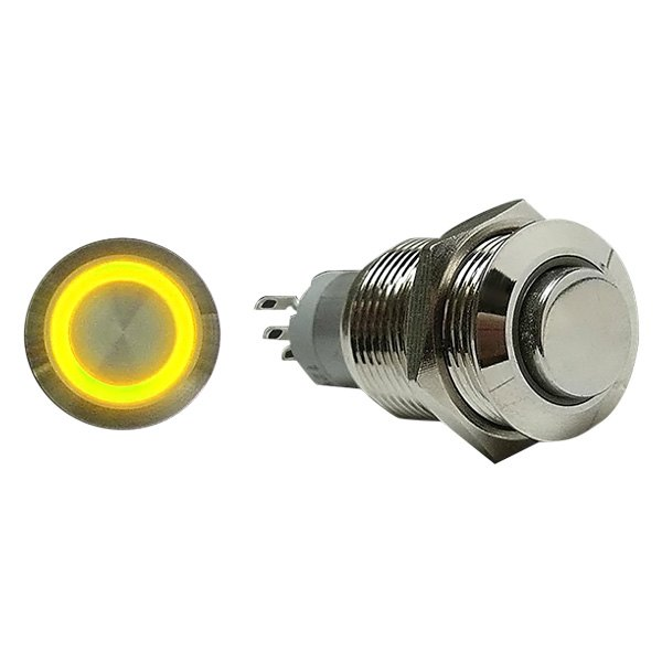 AutoLoc® - 16 mm Momentary Billet Button with Yellow LED Ring