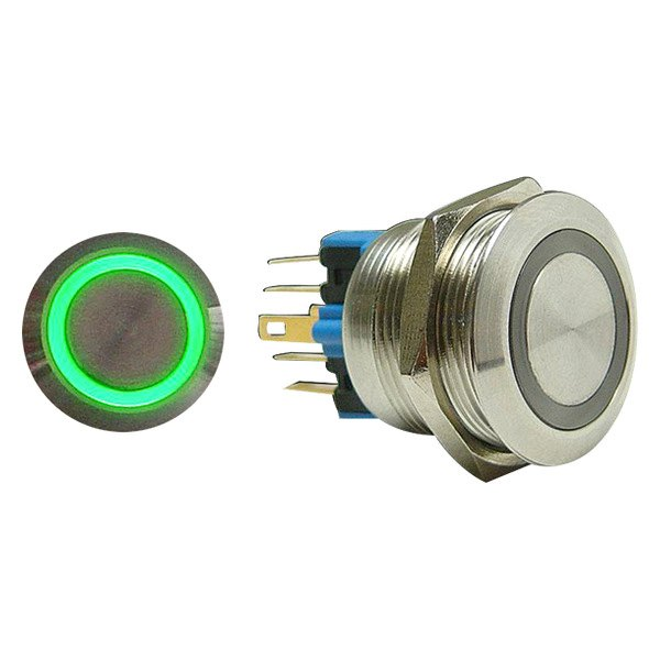 AutoLoc® - 16 mm Latching Billet Button with Green LED Ring
