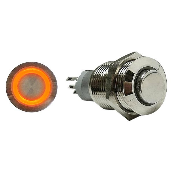 AutoLoc® - 16 mm Latching Billet Button with Orange LED Ring