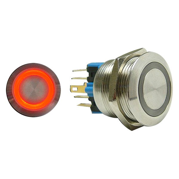 AutoLoc® - 19 mm Latching Billet Button with Red LED Ring
