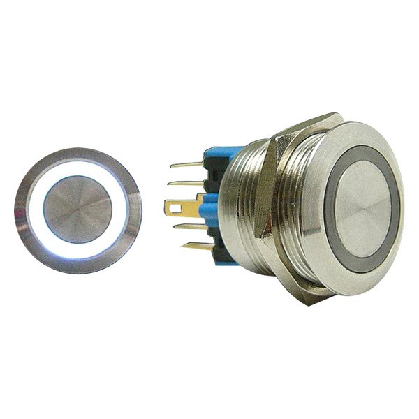 AutoLoc® - 22 mm Latching Billet Button with White LED Ring