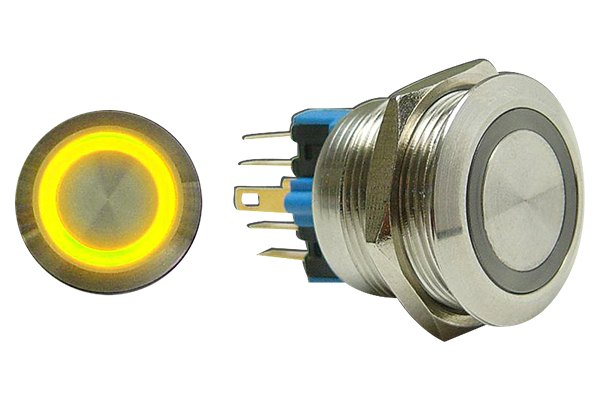 AutoLoc® - 22 mm Latching Billet Button with Yellow LED Ring