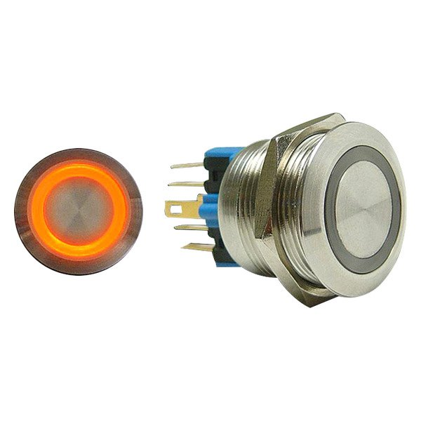 AutoLoc® - 22 mm Momentary Billet Button with Orange LED Ring