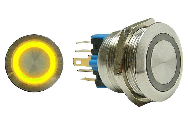 AutoLoc® - 22 mm Momentary Billet Button with Yellow LED Ring