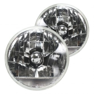 "AutoLoc® - 7"" Round Chrome Snake-Eye Euro Headlights with Turn Signal"