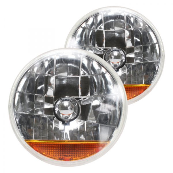 "AutoLoc® - 7"" Round Chrome Snake-Eye Euro Headlights with Amber Turn Signal"