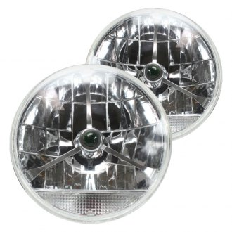 "AutoLoc® - 7"" Round Chrome Tri-Bar Euro Headlights with Turn Signal"
