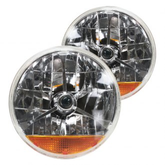 "AutoLoc® - 7"" Round Chrome Tri-Bar Euro Headlights With Amber Turn Signal"