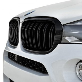 AutoTecknic® - 2-Pc Glazing Black Dual-Slat Billet Main Kidney Grilles