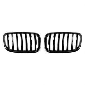 AutoTecknic® - 2-Pc Glazing Black Single-Slat Billet Main Kidney Grilles