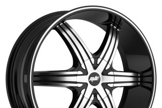 "AVENUE® - A606 Gloss Black with Machined Face and Groove (17"" x 7.5"", +40 Offset, 5x114.3 Bolt Pattern, 73mm Hub)"