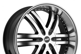 "AVENUE® - A607 Gloss Black with Machined Face, Lip and Black Groove (22"" x 9.5"", +30 Offset, 6x135 Bolt Pattern, 100mm Hub)"