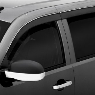 AVS® - Tape-On Low Profile Ventvisor™ Smoke Front and Rear Window Deflectors with Chrome Trim