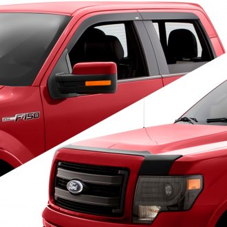 AVS® - Tape-On Matte Black Low Profile Ventvisor and Aeroskin Hood Shield Combo Kit
