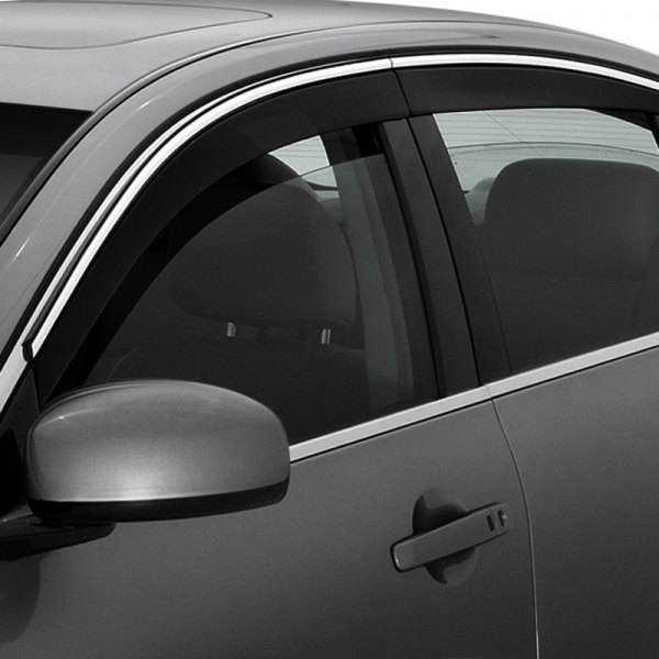 Image may not reflect your exact vehicle! AVS® - Low Profile Ventvisor™ Smoke Window Deflectors with Chrome Trim