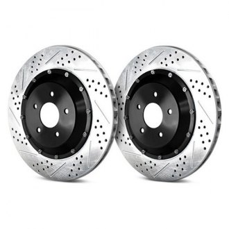 Baer® - EradiSpeed Plus 2 Drilled and Slotted 2-Piece Rear Brake Rotors