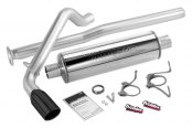 "Banks® - Monster™ Exhaust System (4"" Polished Stainless Slash-Cut Tailpipe Tip with Rolled Edge)"