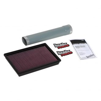 Banks® - Short Ram Air Filter Assembly with Oiled Red Filter with Silencer Delete Tube